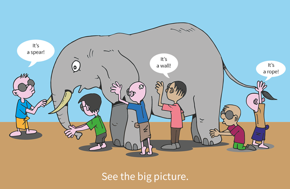See the big picture Blind men and elephant