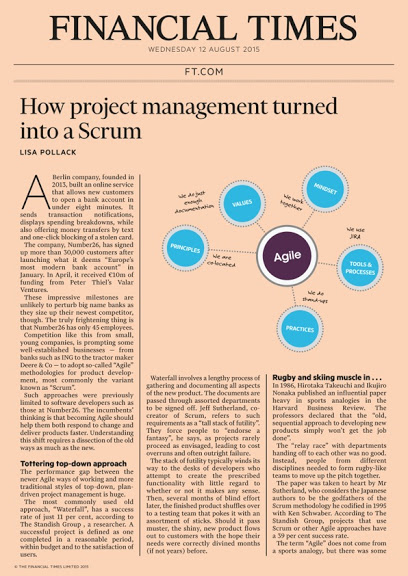 Reprint of FT.com article 'How Project Management turned into a Scrum'
